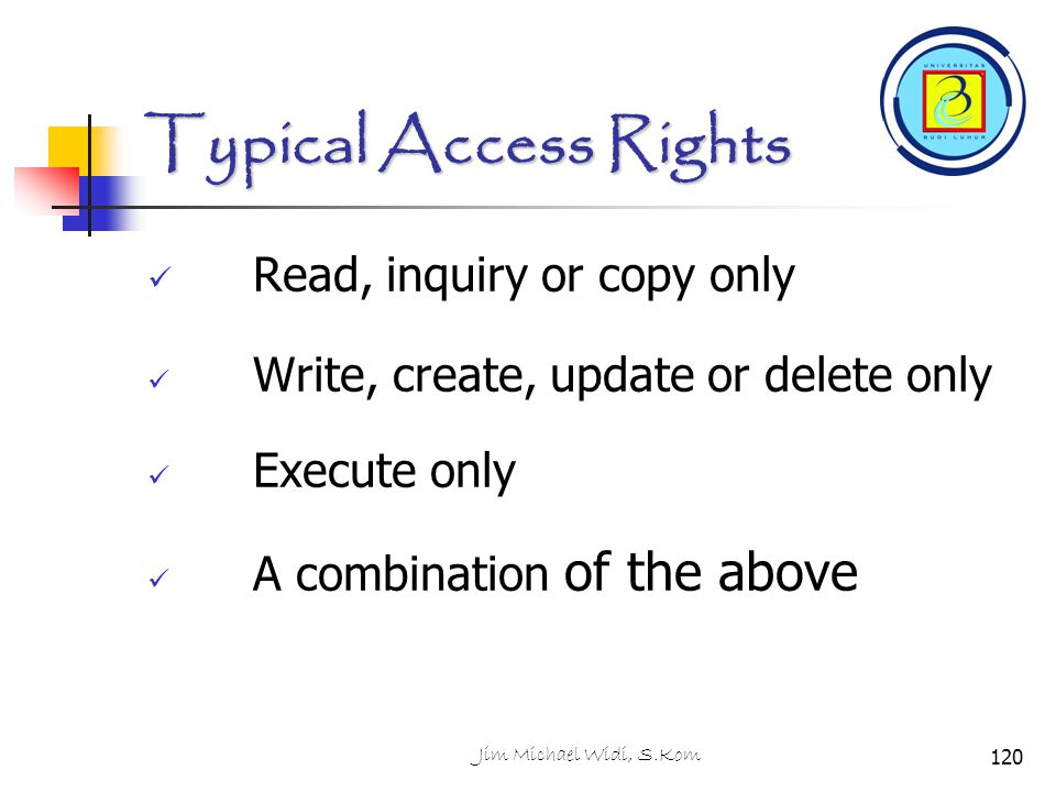 Typical Access Rights Read, inquiry or copy only