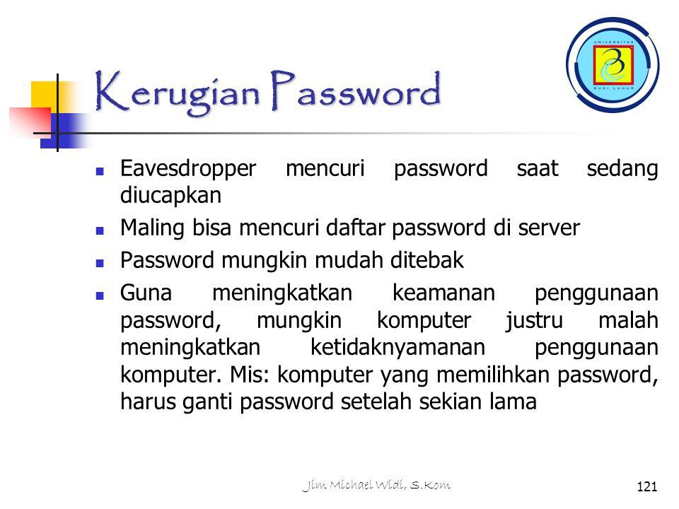 Kerugian Password Eavesdropper mencuri password saat sedang diucapkan