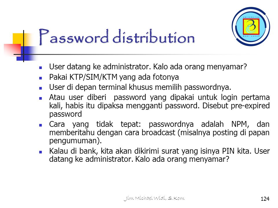 Password distribution