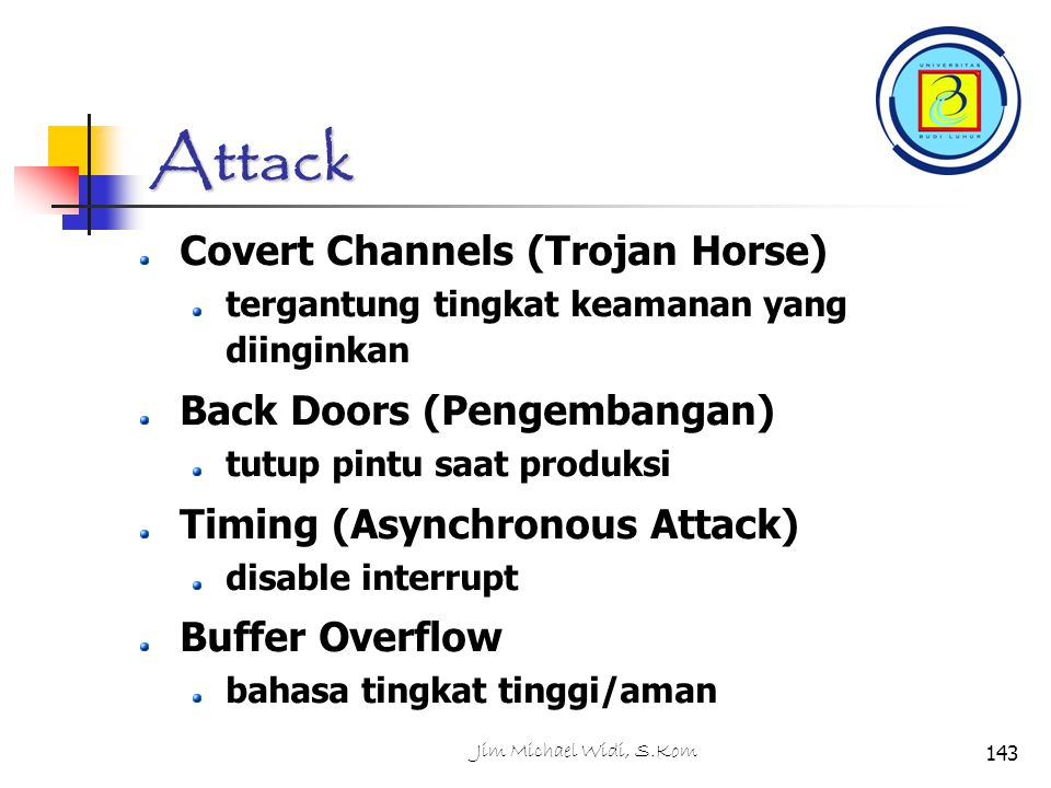 Attack Covert Channels (Trojan Horse) Back Doors (Pengembangan)