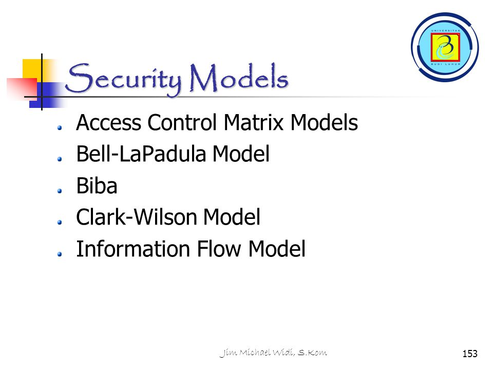 Security Models Access Control Matrix Models Bell-LaPadula Model Biba