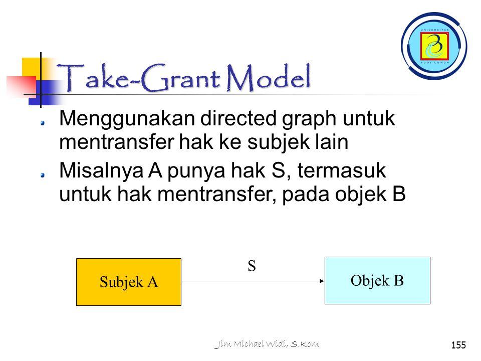 Take-Grant Model Menggunakan directed graph untuk mentransfer hak ke subjek lain.
