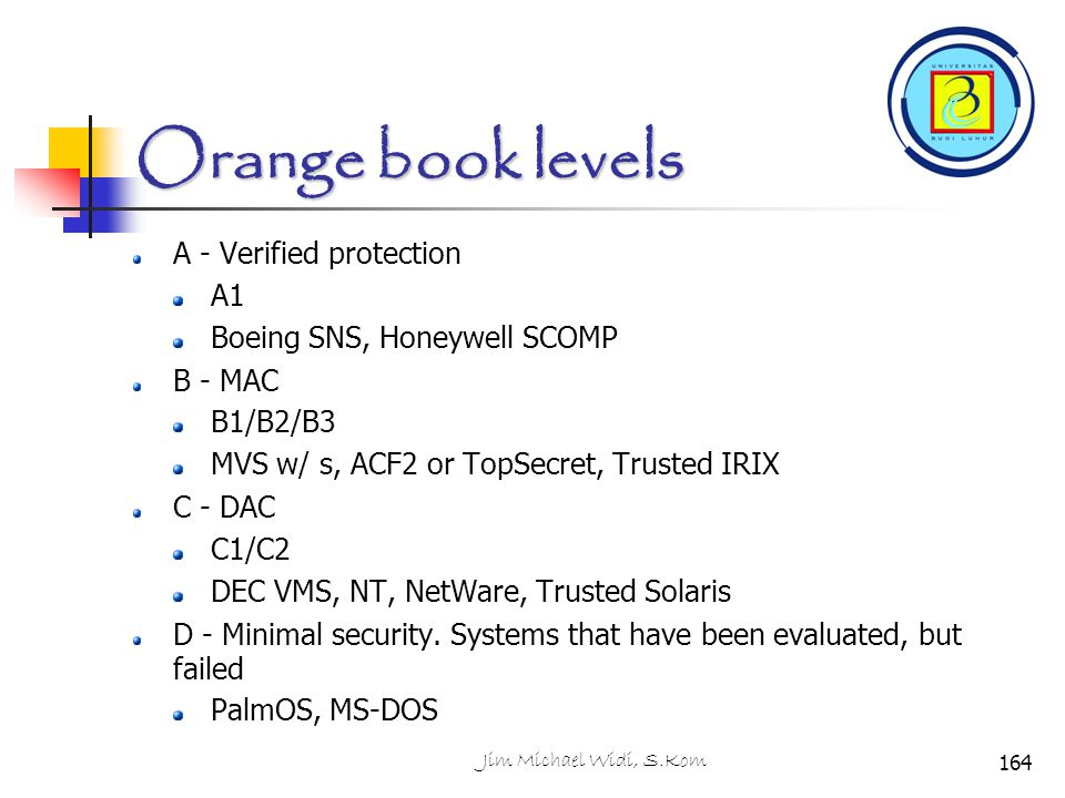 Orange book levels A - Verified protection A1