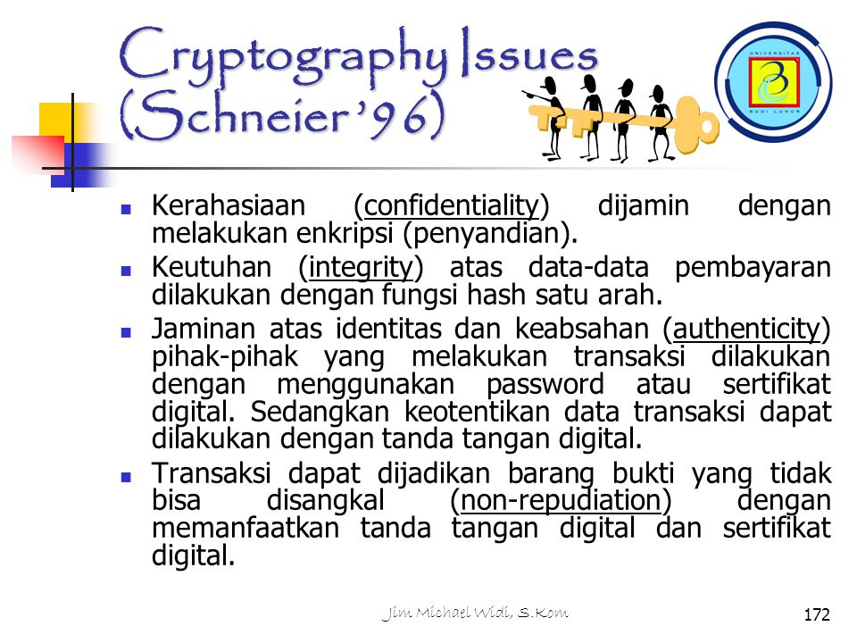 Cryptography Issues (Schneier '96)