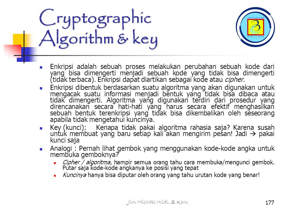 Cryptographic Algorithm & key