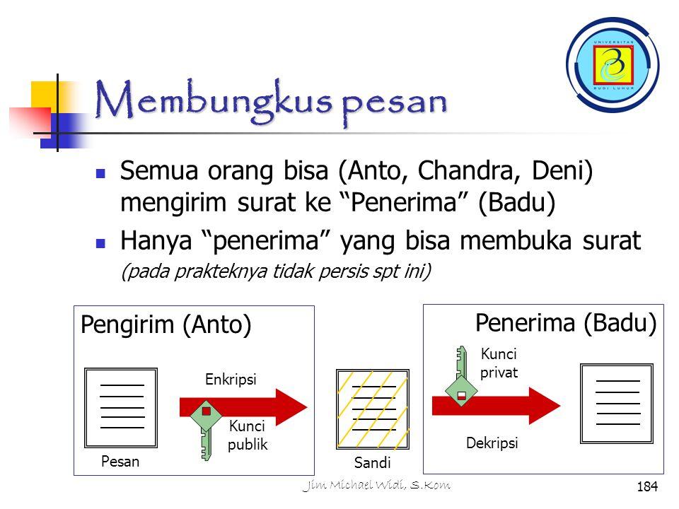 Membungkus pesan Semua orang bisa (Anto, Chandra, Deni) mengirim surat ke Penerima (Badu) Hanya penerima yang bisa membuka surat.