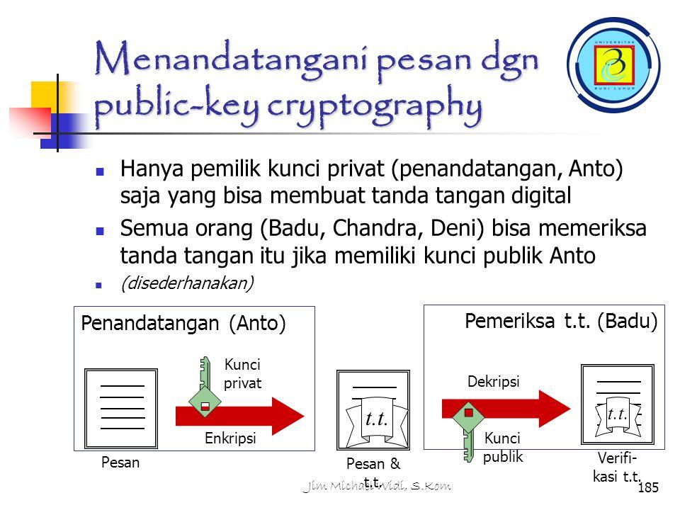 Menandatangani pesan dgn public-key cryptography