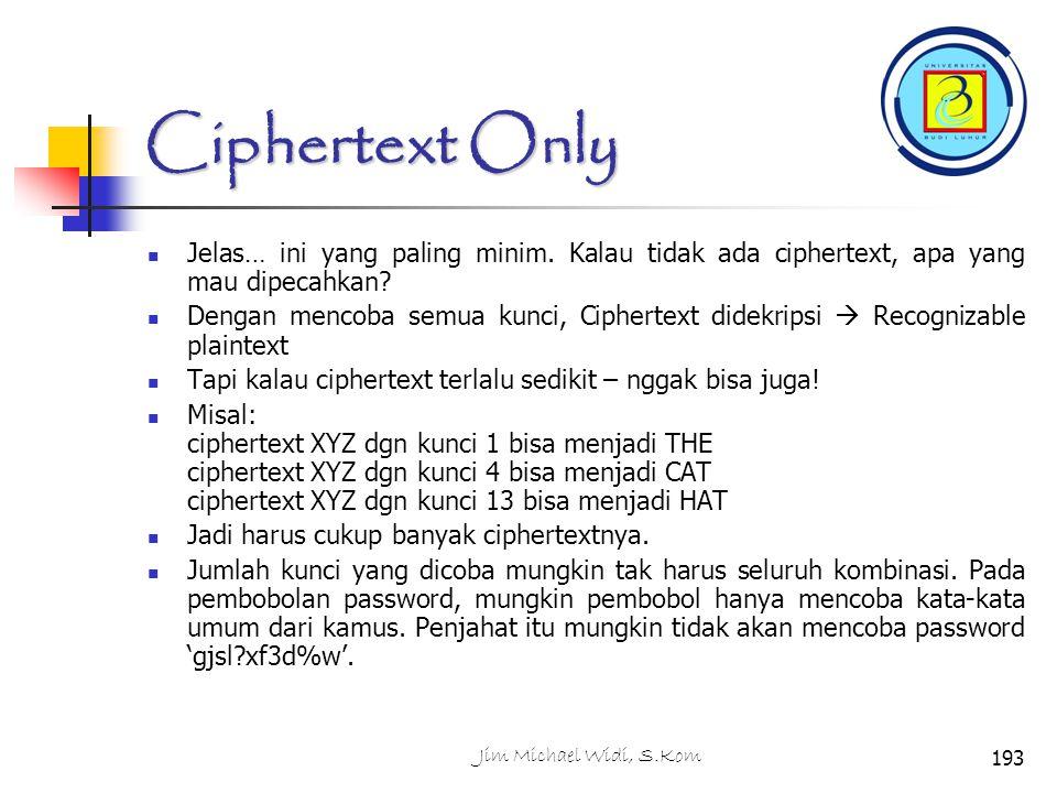 Ciphertext Only Jelas… ini yang paling minim. Kalau tidak ada ciphertext, apa yang mau dipecahkan