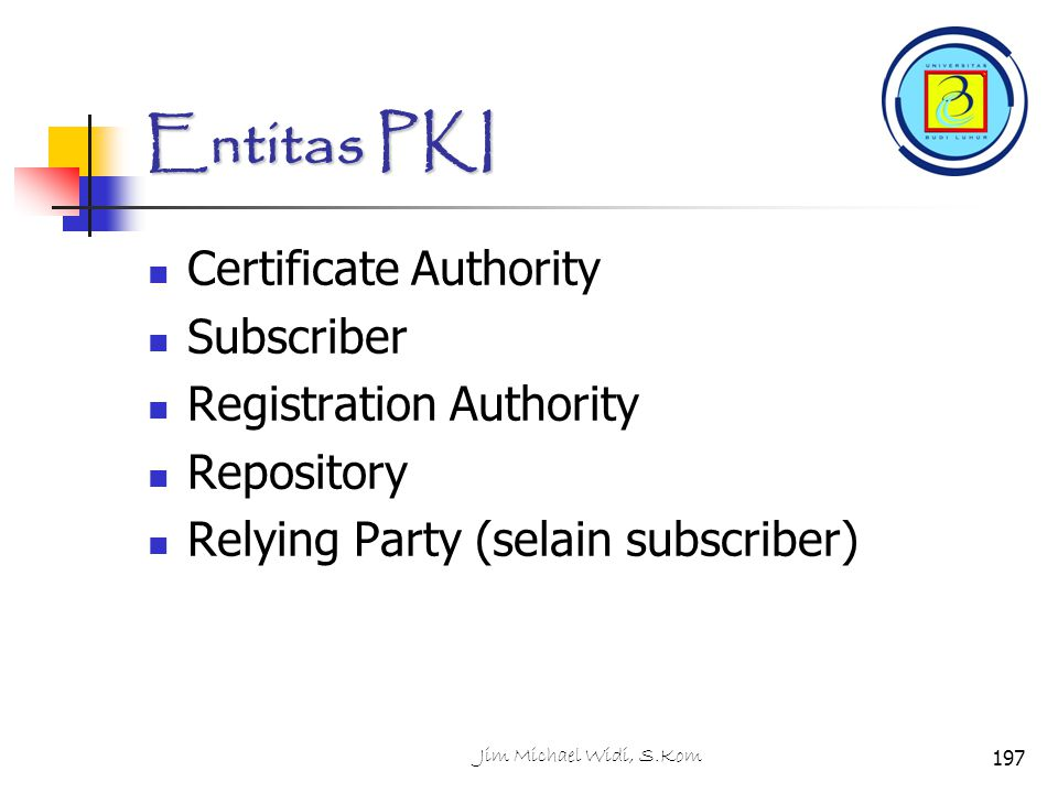 Entitas PKI Certificate Authority Subscriber Registration Authority