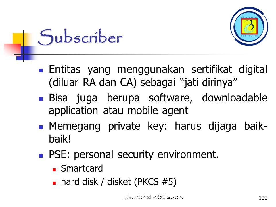 Subscriber Entitas yang menggunakan sertifikat digital (diluar RA dan CA) sebagai jati dirinya