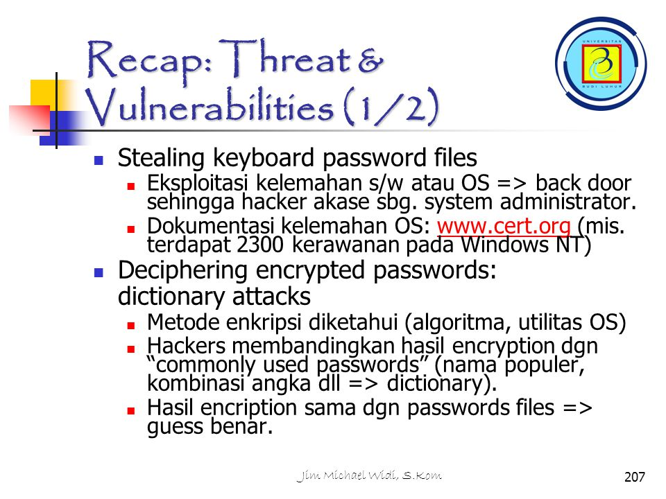 Recap: Threat & Vulnerabilities (1/2)