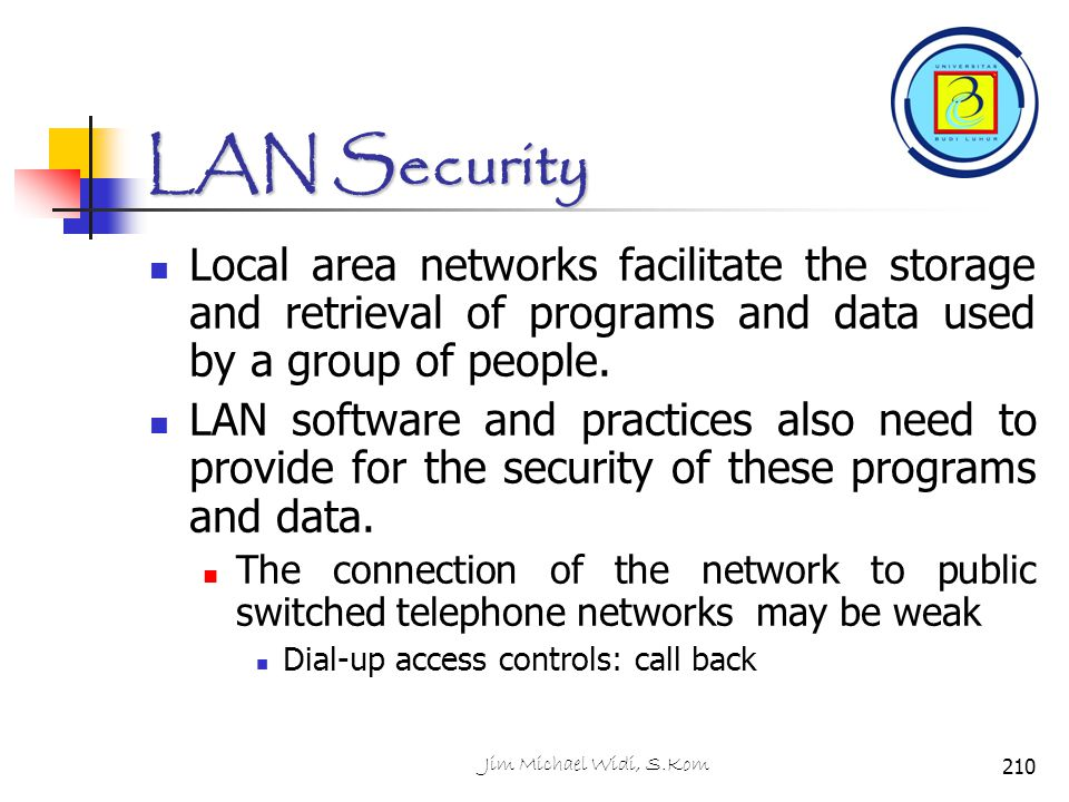 LAN Security Local area networks facilitate the storage and retrieval of programs and data used by a group of people.