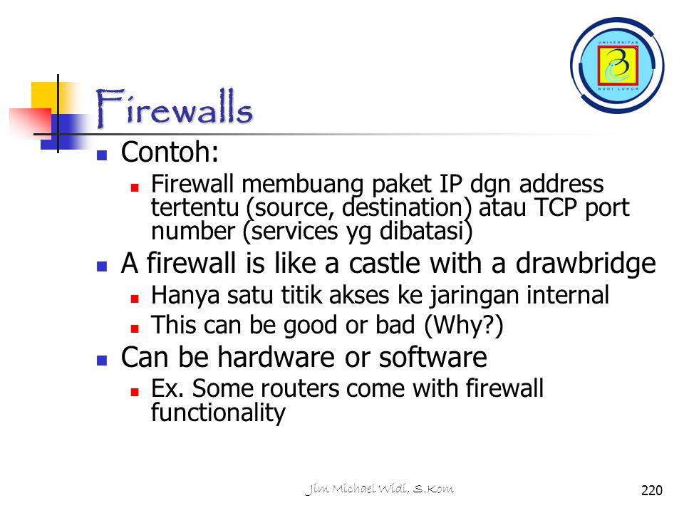 Firewalls Contoh: A firewall is like a castle with a drawbridge