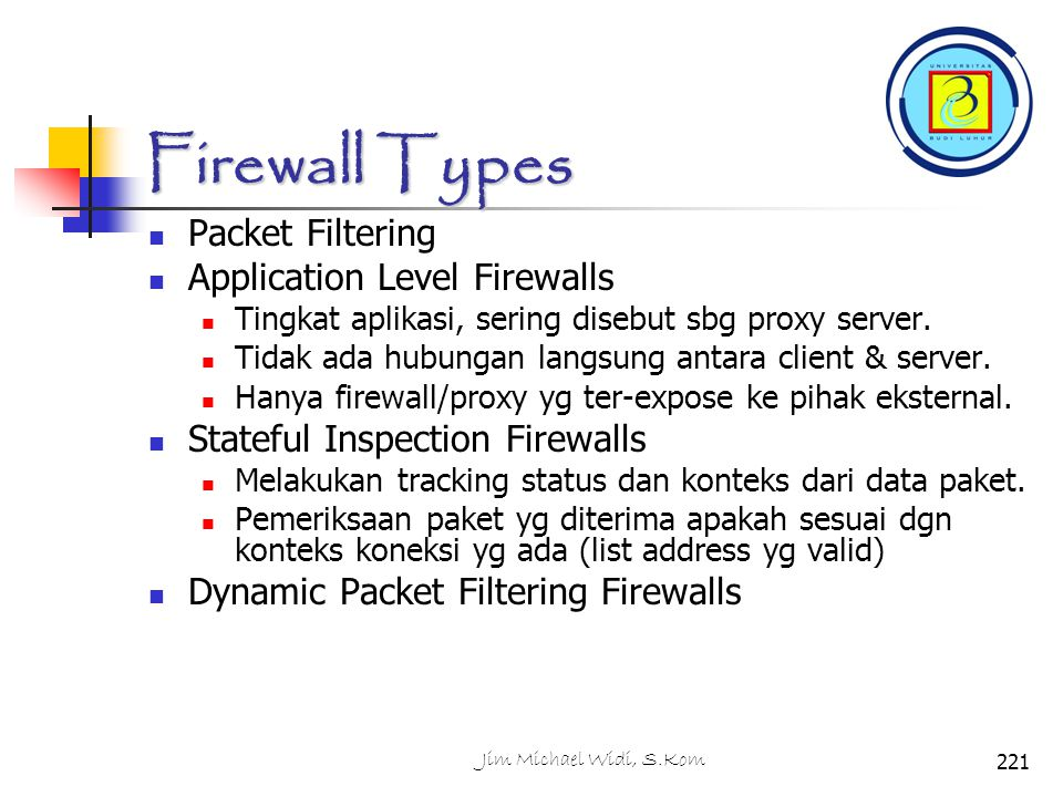 Firewall Types Packet Filtering Application Level Firewalls