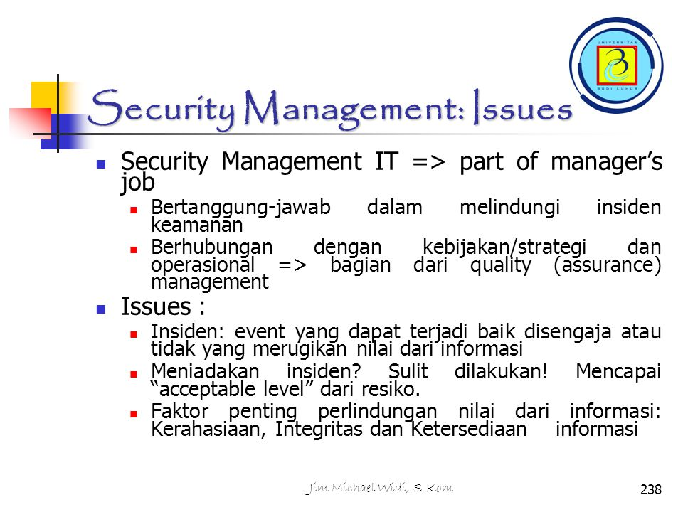 Security Management: Issues