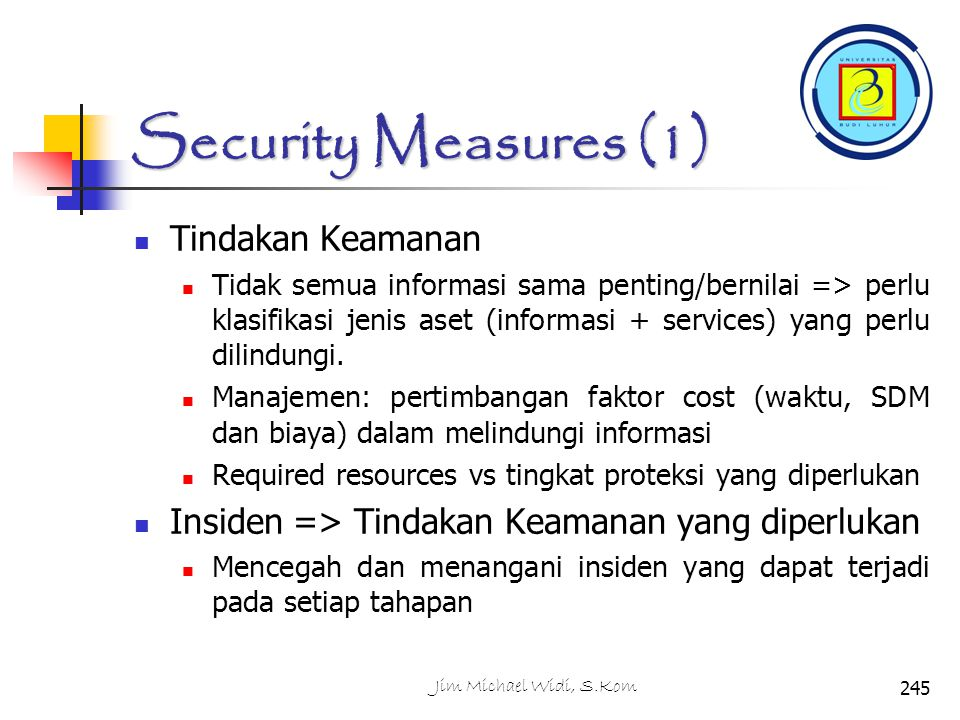 Security Measures (1) Tindakan Keamanan