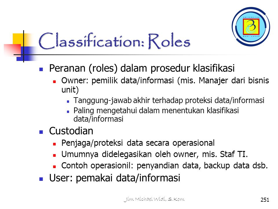 Classification: Roles
