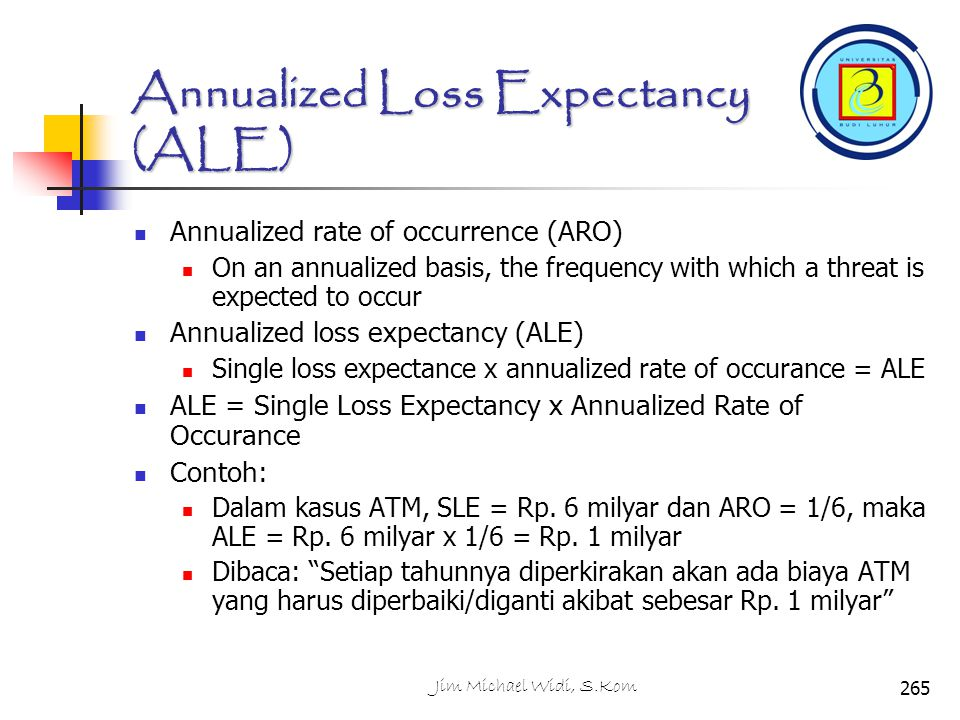 Annualized Loss Expectancy (ALE)