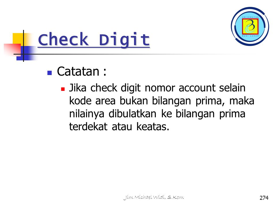 Check Digit Catatan :