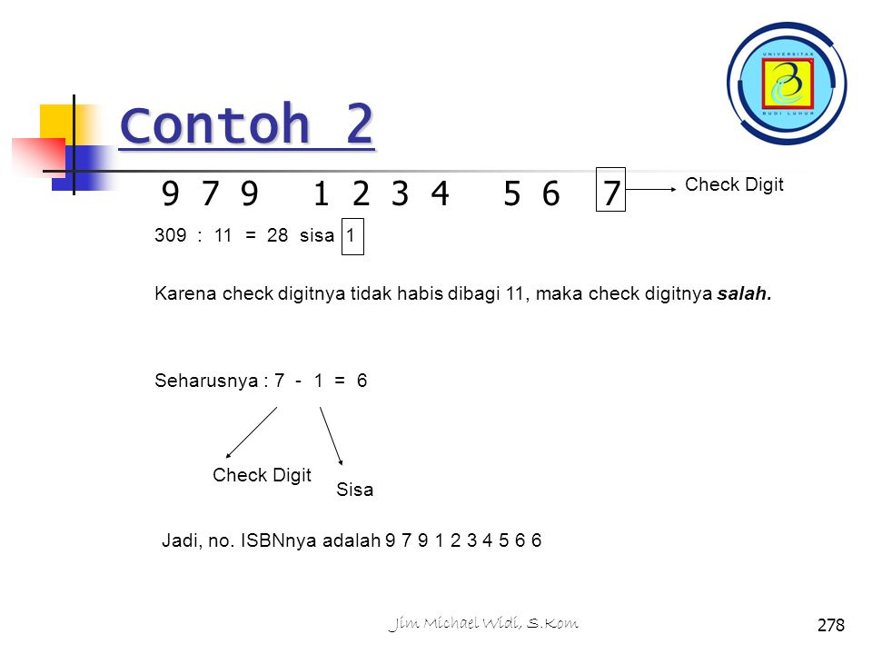 Contoh 2 9 7 9 1 2 3 4 5 6 7 Check Digit 309 : 11 = 28 sisa 1