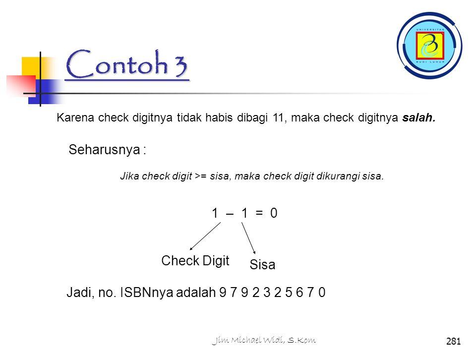 Contoh 3 Seharusnya : 1 – 1 = 0 Check Digit Sisa
