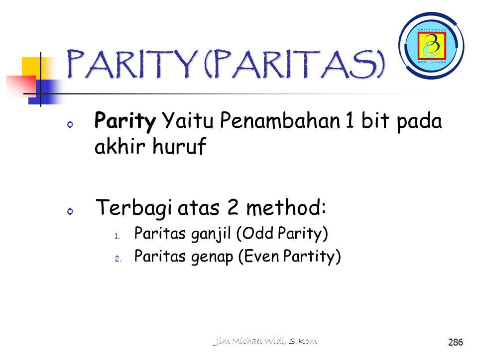 PARITY (PARITAS) Parity Yaitu Penambahan 1 bit pada akhir huruf