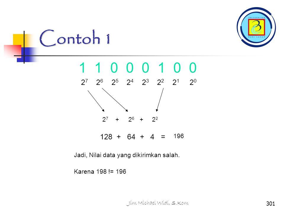 Contoh 1 1 1 0 0 0 1 0 0. 27 26 25 24 23 22 21 20. 27 + 26 + 22.