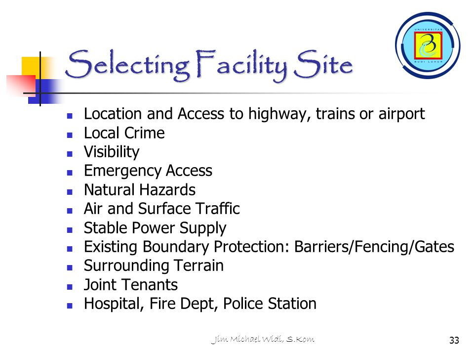 Selecting Facility Site