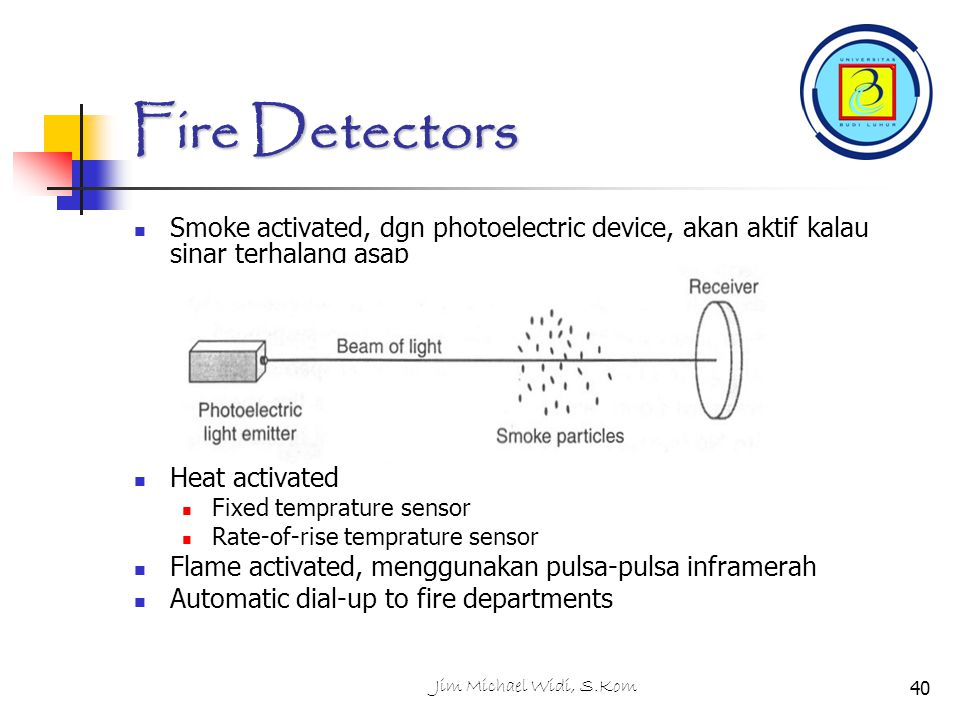 Fire Detectors Smoke activated, dgn photoelectric device, akan aktif kalau sinar terhalang asap. Heat activated.