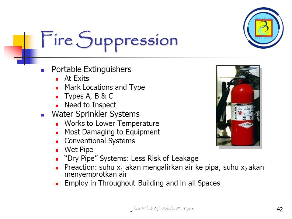 Fire Suppression Portable Extinguishers Water Sprinkler Systems
