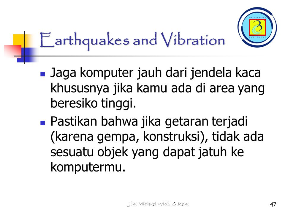 Earthquakes and Vibration