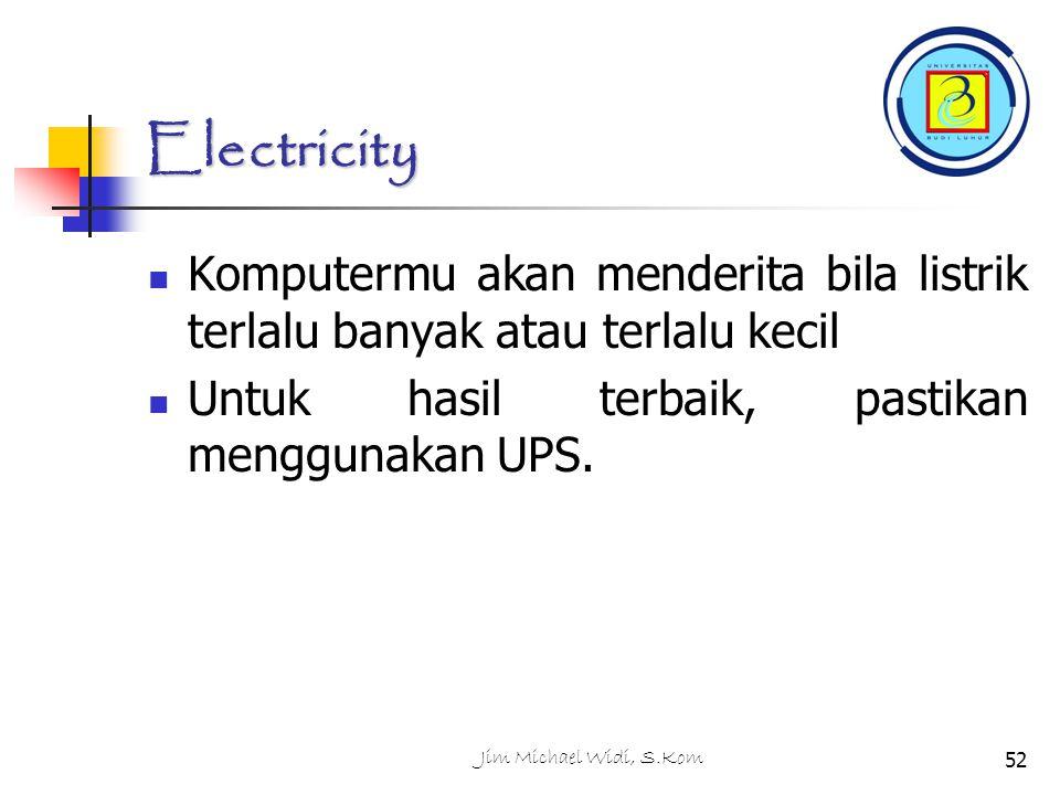 Electricity Komputermu akan menderita bila listrik terlalu banyak atau terlalu kecil. Untuk hasil terbaik, pastikan menggunakan UPS.
