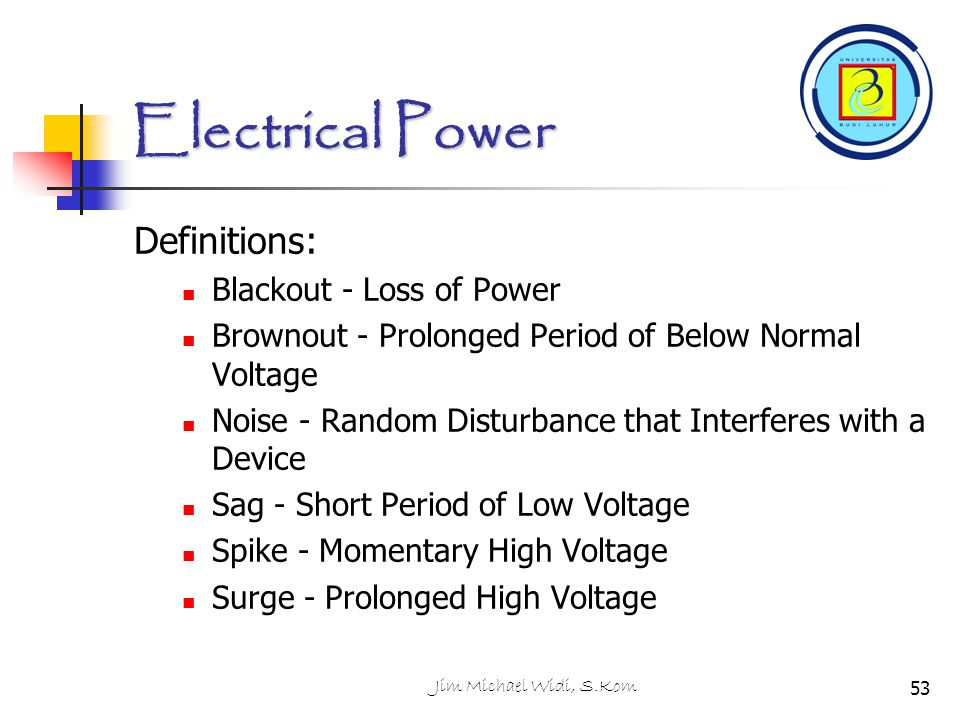 Electrical Power Definitions: Blackout - Loss of Power