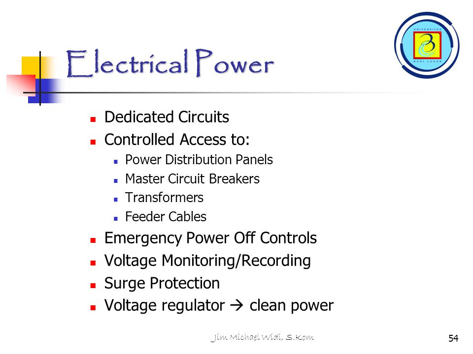 Electrical Power Dedicated Circuits Controlled Access to: