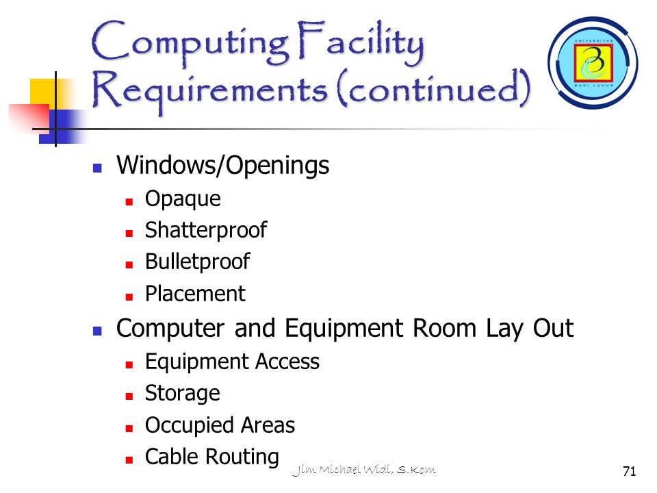 Computing Facility Requirements (continued)