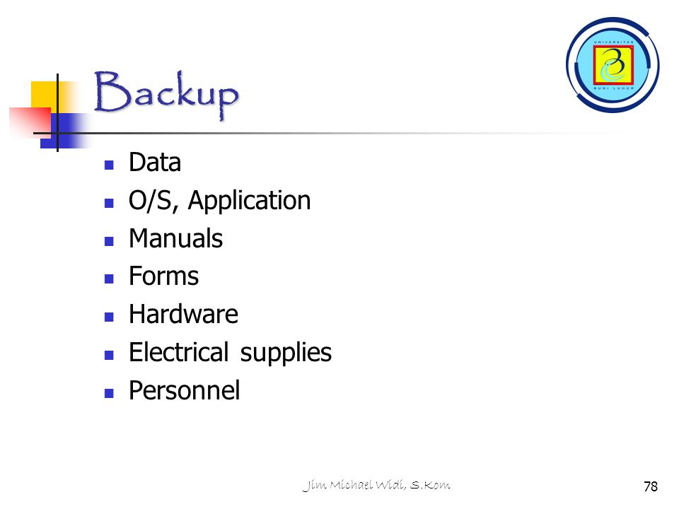 Backup Data O/S, Application Manuals Forms Hardware
