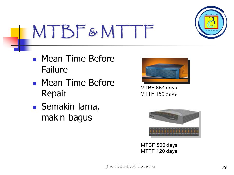 MTBF & MTTF Mean Time Before Failure Mean Time Before Repair