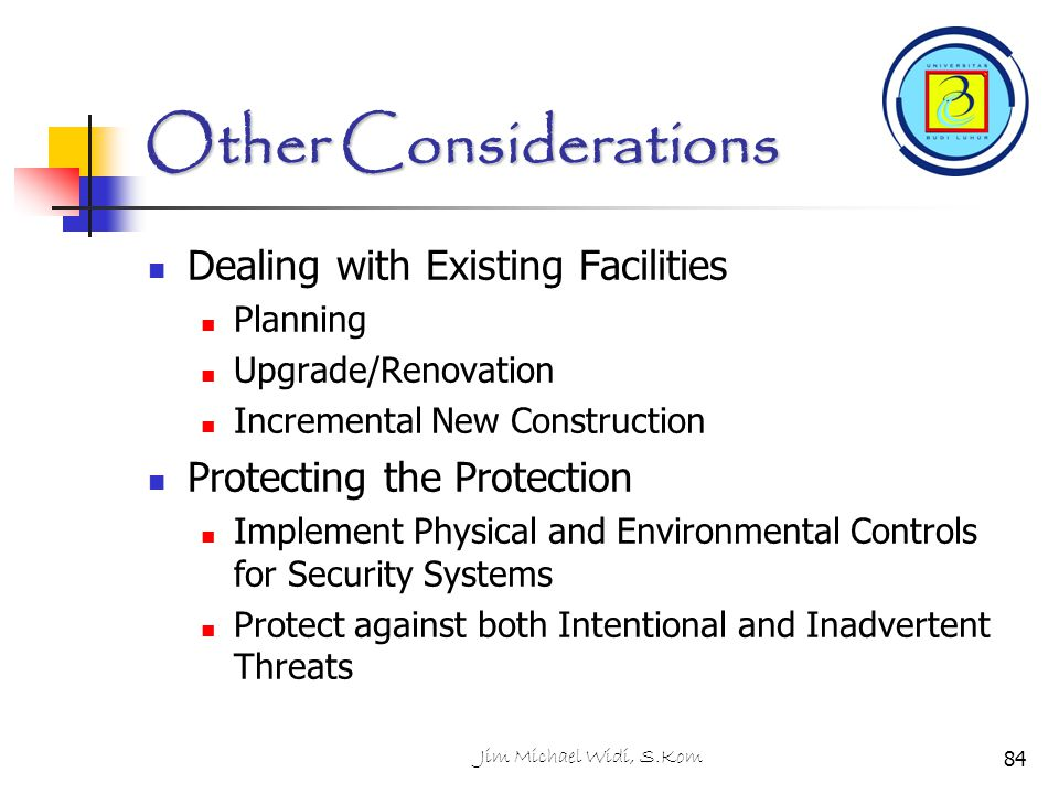 Other Considerations Dealing with Existing Facilities