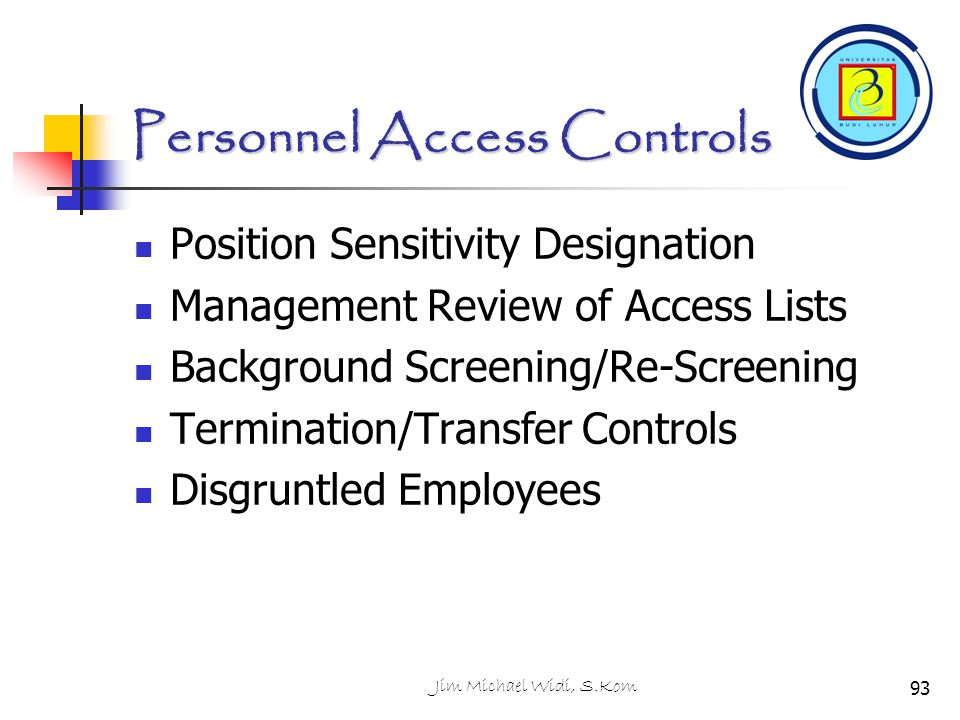 Personnel Access Controls