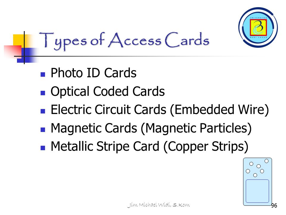 Types of Access Cards Photo ID Cards Optical Coded Cards