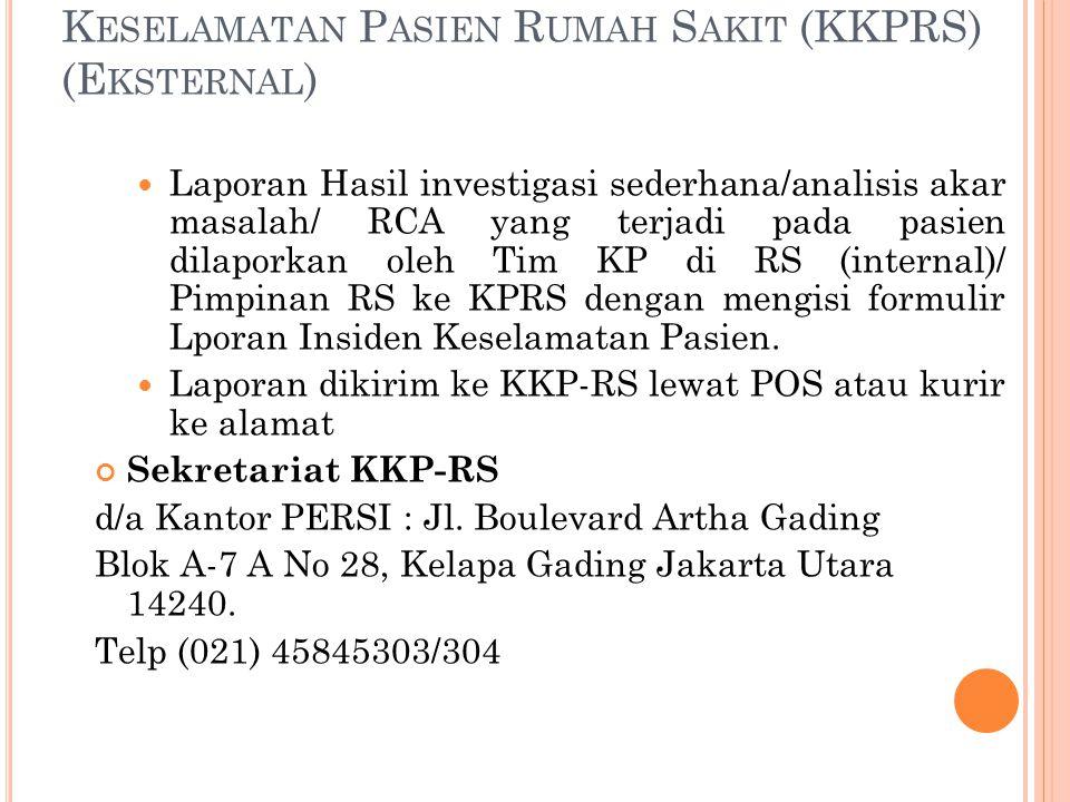 Alur pelaporan insiden ke Komite Keselamatan Pasien Rumah Sakit (KKPRS) (Eksternal)