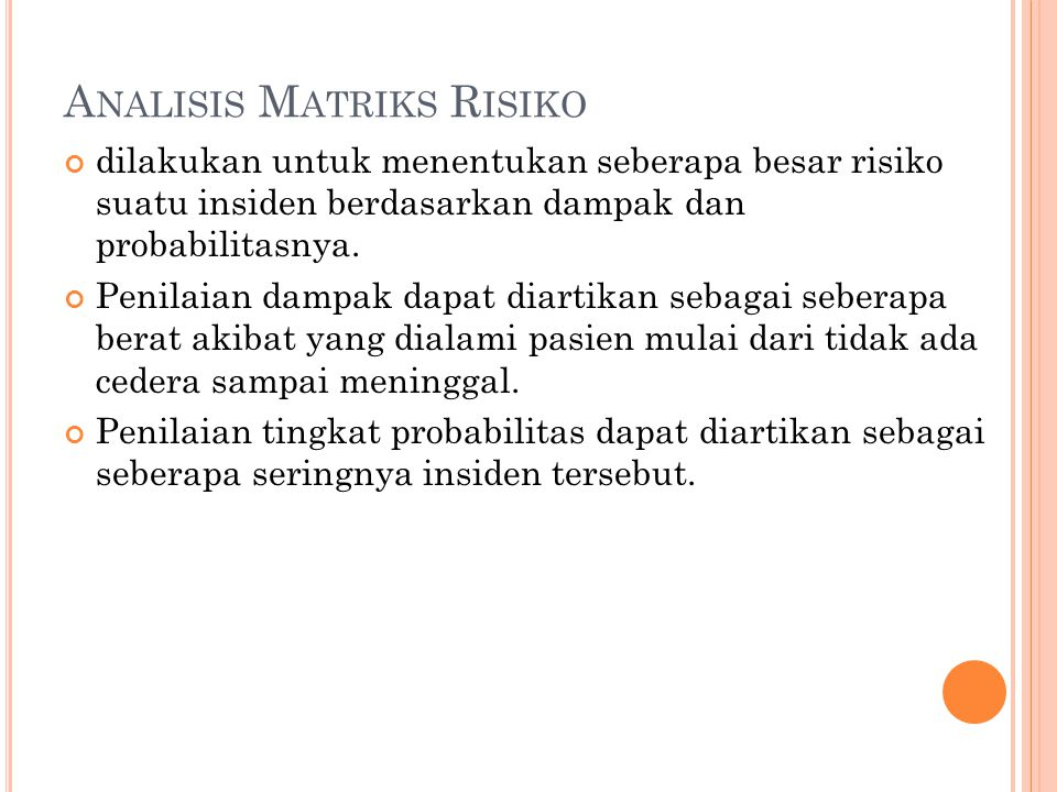Analisis Matriks Risiko
