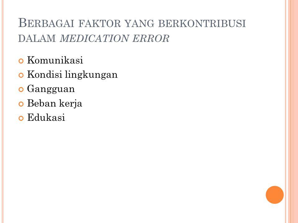 Berbagai faktor yang berkontribusi dalam medication error