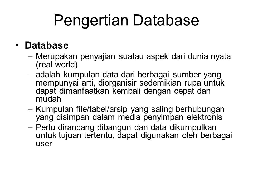 Pengertian Database Database