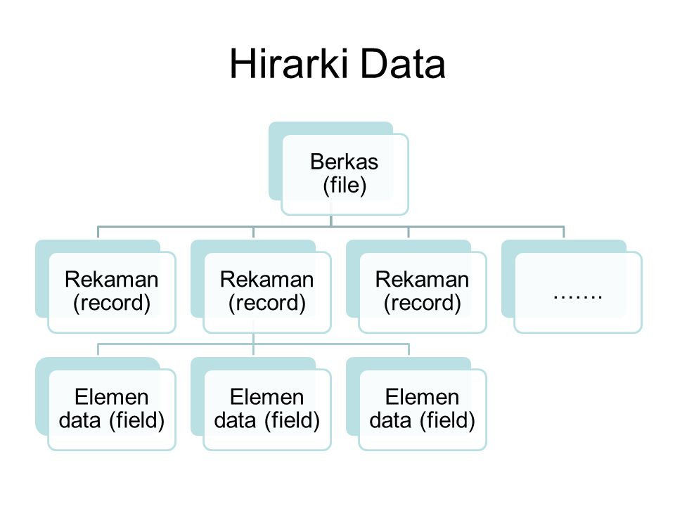 Hirarki Data Berkas (file) Rekaman (record) Elemen data (field) …….