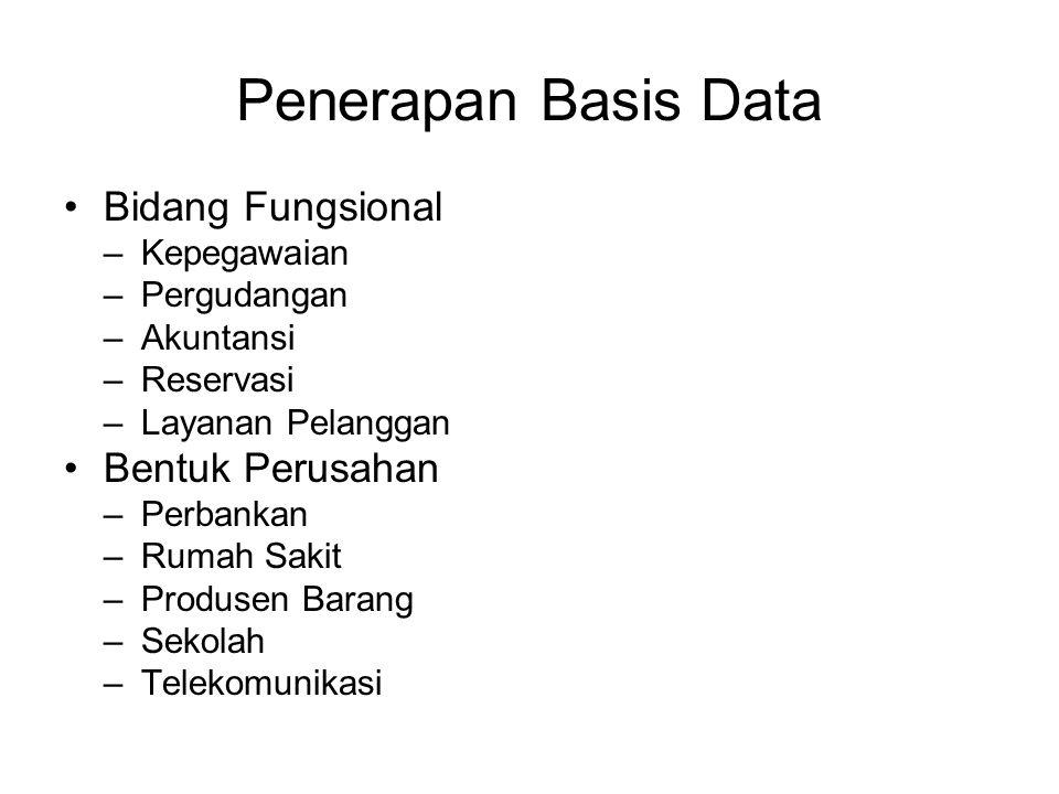 Penerapan Basis Data Bidang Fungsional Bentuk Perusahan Kepegawaian