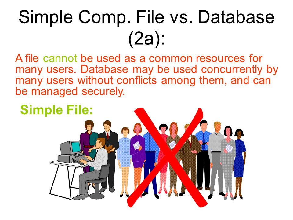 Simple Comp. File vs. Database (2a):