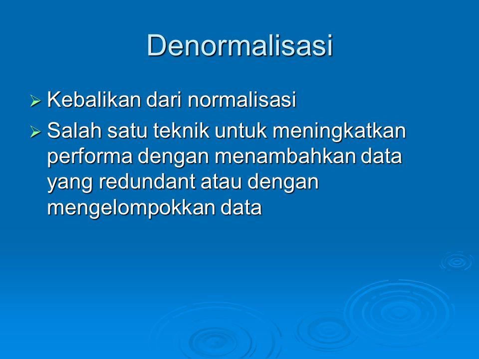 Denormalisasi Kebalikan dari normalisasi