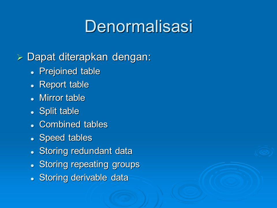 Denormalisasi Dapat diterapkan dengan: Prejoined table Report table