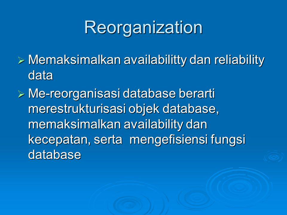 Reorganization Memaksimalkan availabilitty dan reliability data